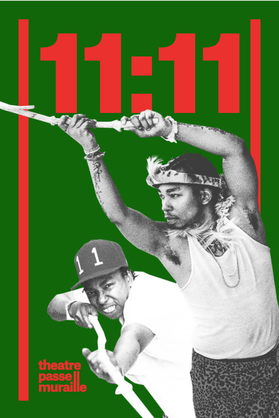 11:11 title at top in red with a green background, two characters in strong poses holding a stick. One is crouched with a baseball hat on and the stick pointing striaight. The other is standing tall with their arms above their head and the stick going out of the frame to the left.