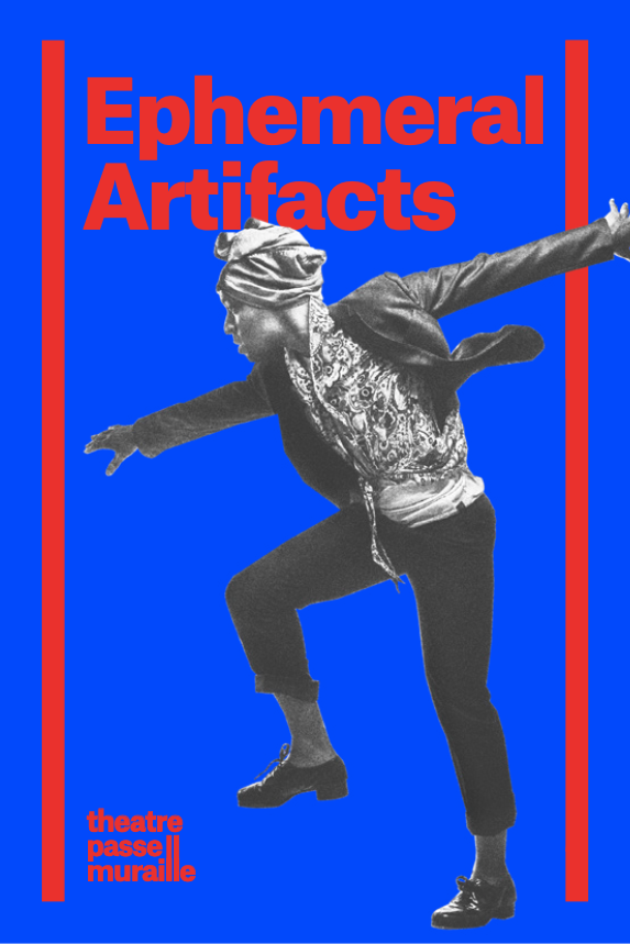 Ephemeral Artifacts poster with title at top in red, blue background, and performer in expressive tap dancing positions with a knee up and arms out to his sides.