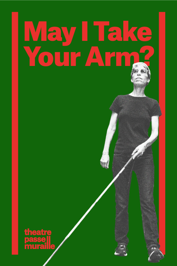 May I take Your Arm? title in red on a green background. Image of woman walking, wearing sunglasses and with her cane sweeping the ground to the left in front of her.