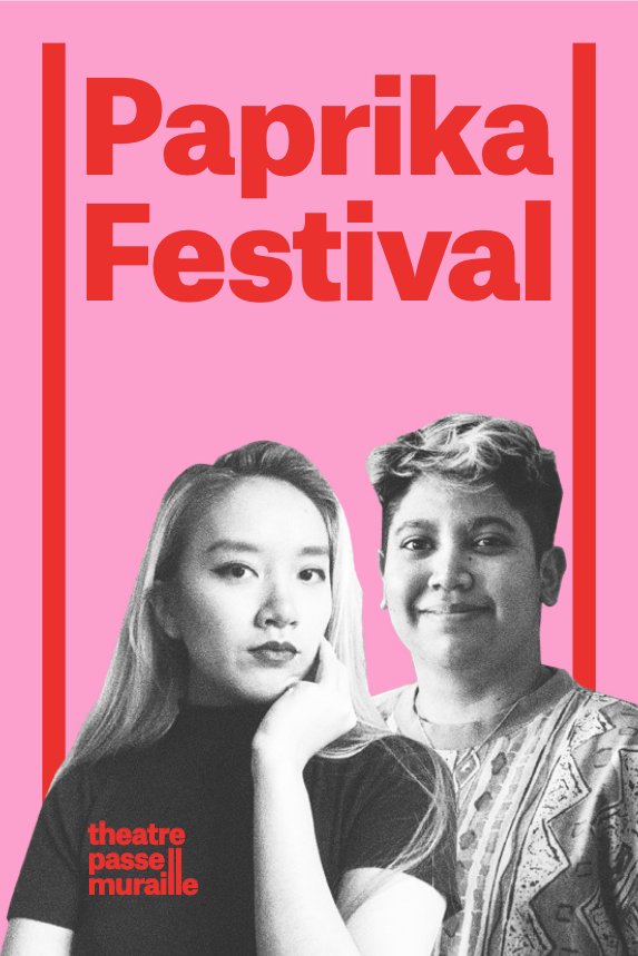 Paprika Festival Poster has a pink background with artists smiling in the front.