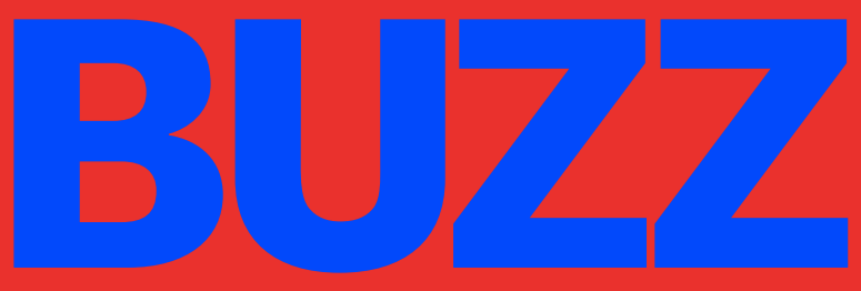 BUZZ written in blue all caps font over a red background.