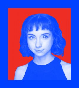 Image of the artist with a blue overlay on a red background.