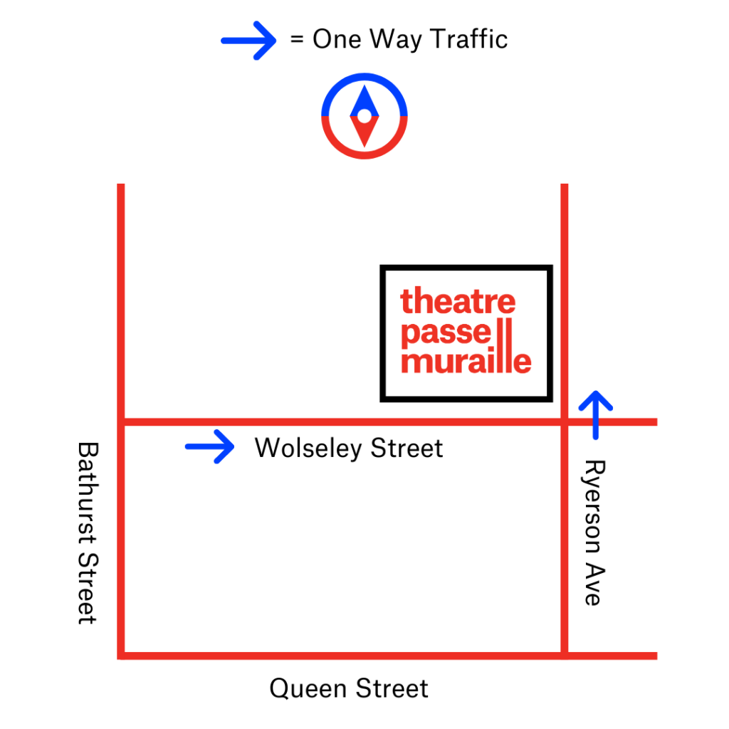 Street map showing the location of the theatre on the corner of Wolseley Street and Ryerson Avenue.