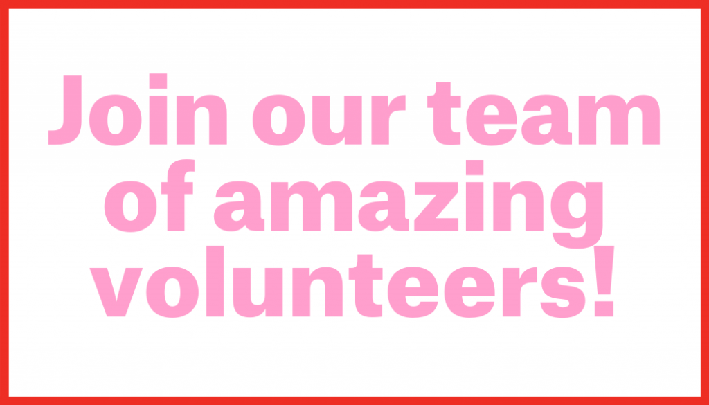 "Image with text that say"" Join our team of amazing volunteers!"""