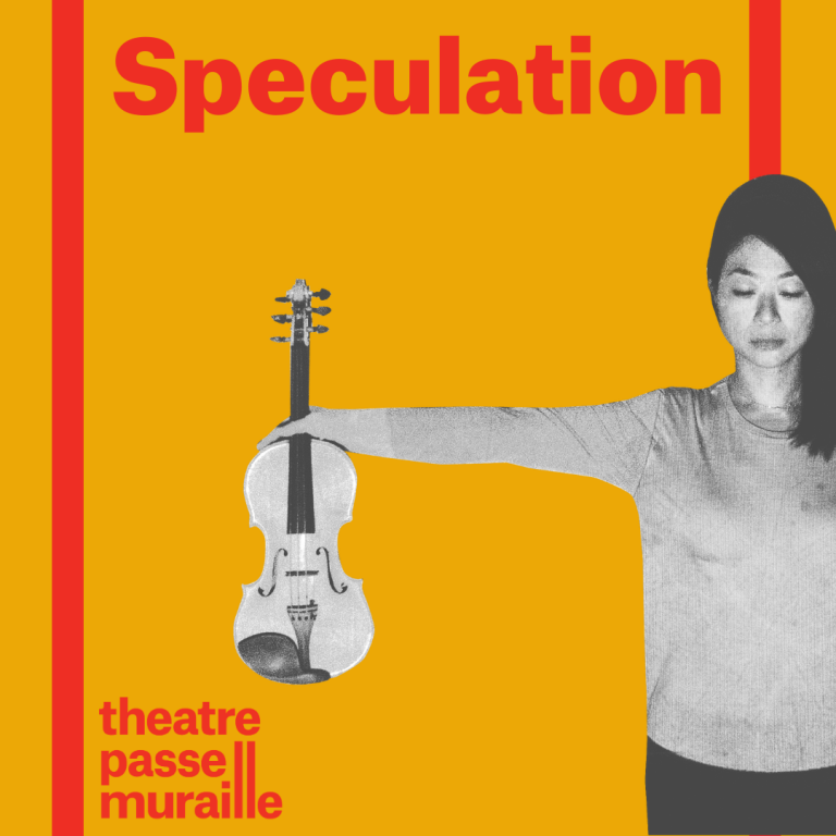 Show poster with image shows artist holding out her right arm, holding a violin upright. Speculation is written in bold text.