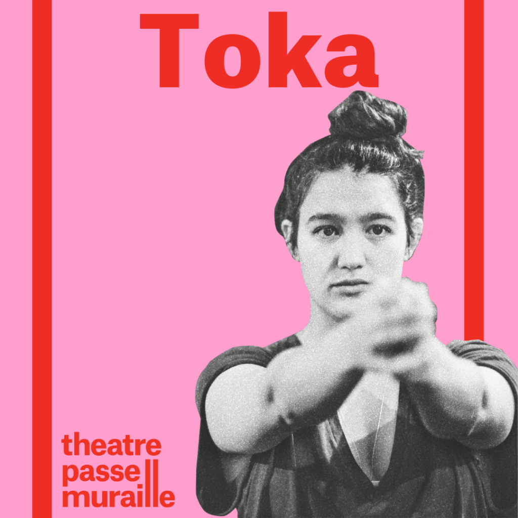 Poster with image of artist with her hands collected and extended towards the lens. Against a pink background, Toka is written in bold red font.