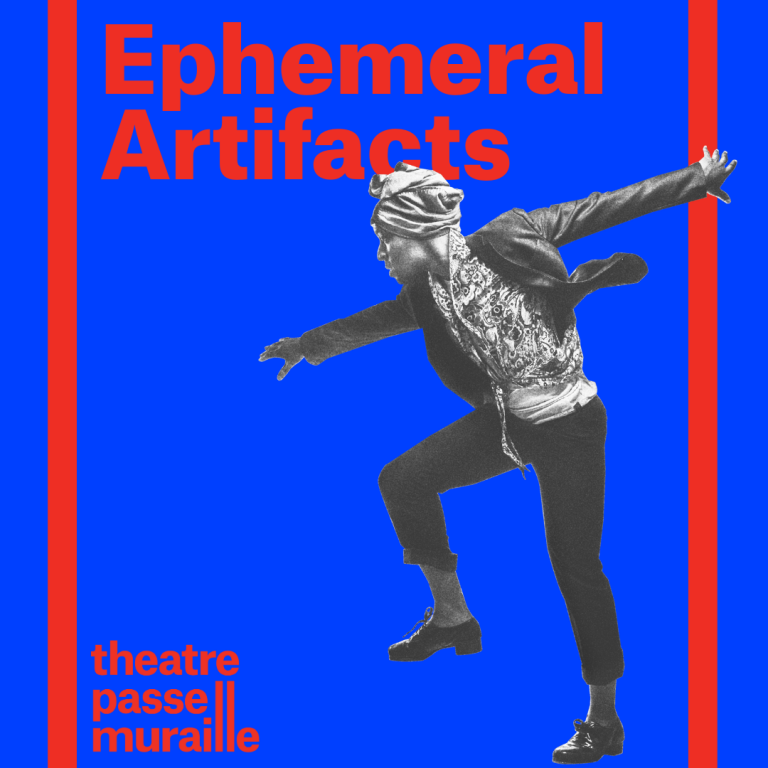 Poster with image of artist dancing with arms wide out. Against a blue background, Ephemeral Artifacts is written in bold red font.