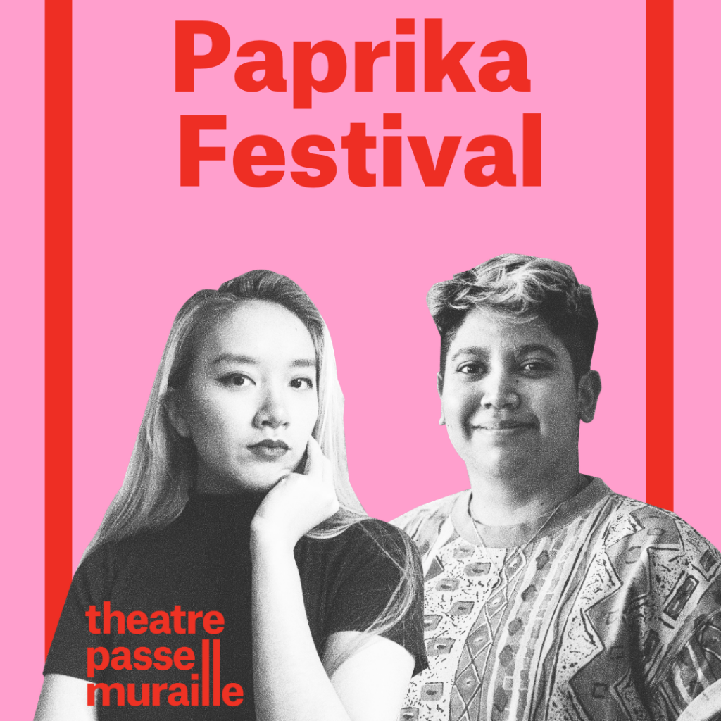 Paprika Festival poster image shows two people, both looking directly at the camera. One has long hair and has their chin resting on their hand while the other is smiling.
