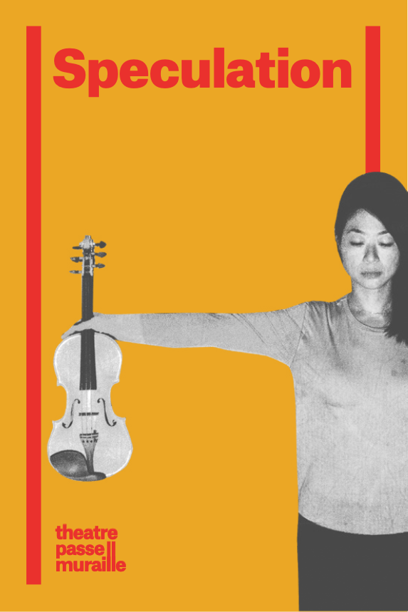 "Poster of Speculation, Leslie holding a violin with her right arm with ""Speculation"" written in red font"