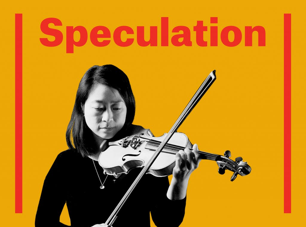 Click here to buy tickets for Speculation. Visual Description: Yellow graphic with performer playing a violin