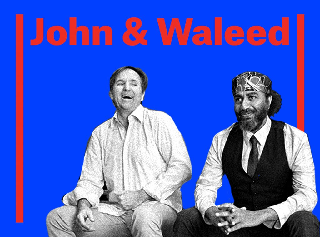 Click here to learn more about John & Waleed. Visual Description: John & Waleed sitting and laughing together, against blue graphic