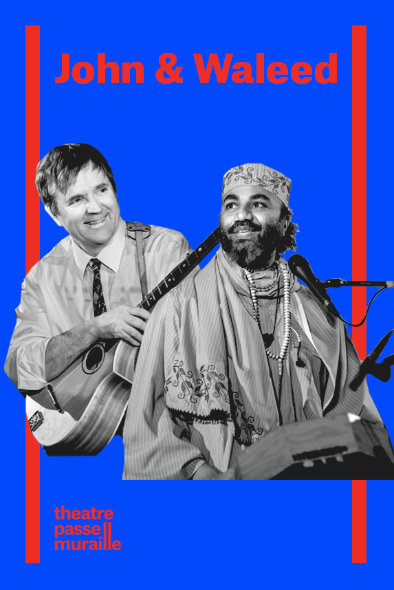 John and Waleed playing music and smiling in a bright blue poster