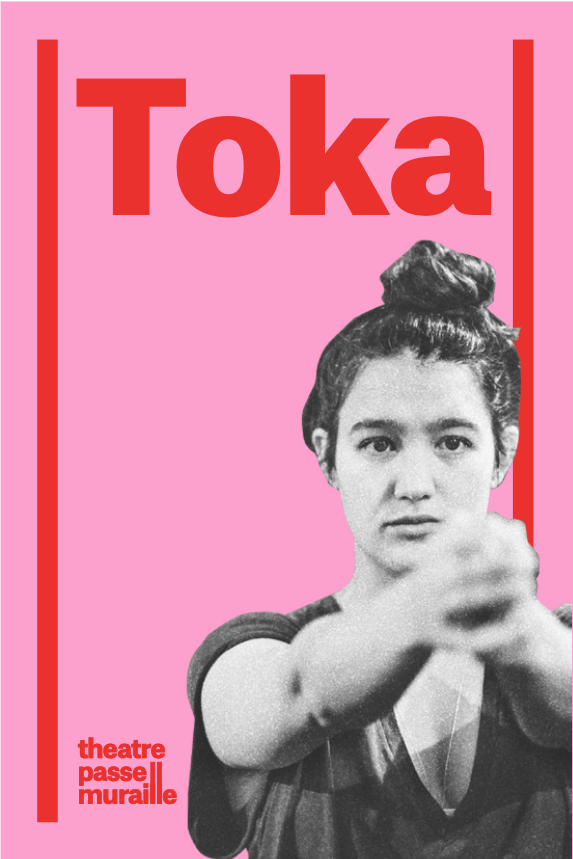 Pink Poster of Toka. Female character holds both her hands forward, holding them together. stern.
