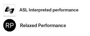 Legend shows icons for Relaxed performance and ASL interpreted performance
