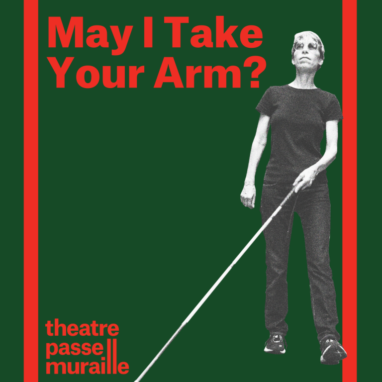 Poster with an image of the artists, wearing sunglasses and holding a cane, walking. May I Take Your Arm? is written in bold red font behind a green background