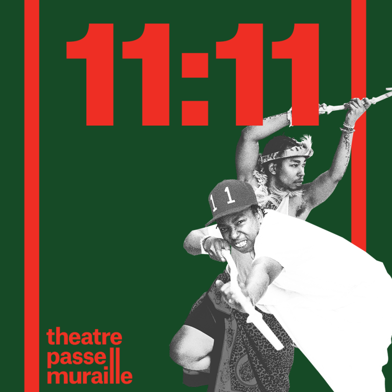Show poster with image of two characters, both holding a stick. 11:11 is written in bold red font.