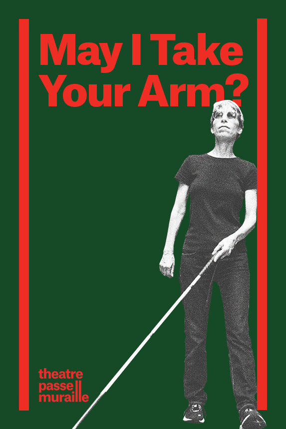 Show Poster has an image of Alex walking with the white cane guiding her. Title and TPM logo is written in bright red against a forest green background.