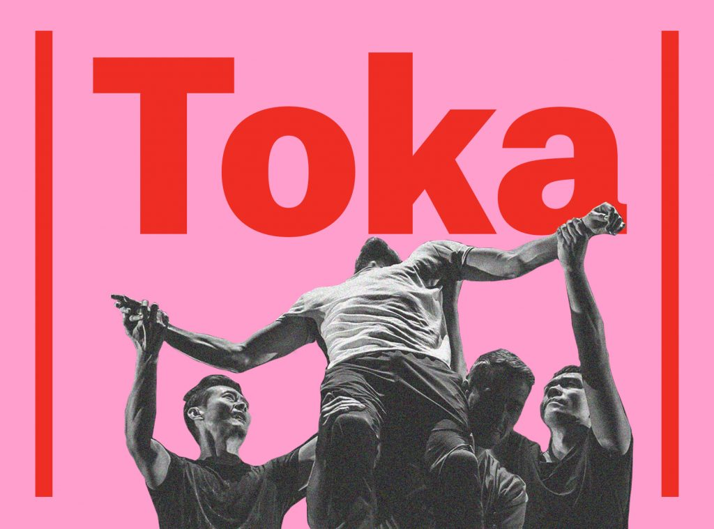 Pink poster image has red lines along the side with text in bold red that reads Toka. In black and white is an image of four dancers, one is in the air without strength and the three are holding him up.