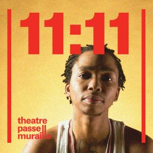 Samson stares into the camera with a soft expression in a poster that has text 11:11 in red across the top
