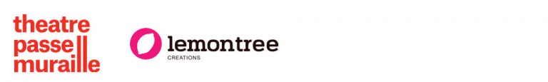 theatre passe muraille logo is a friendly red text with the Ls elongated. Lemontree logo has a pink circle with a cutout lemon in the middle