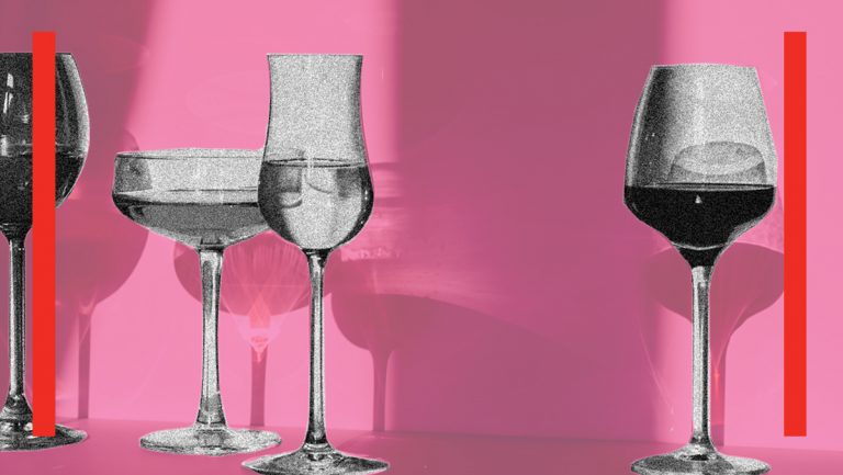 cutout black and white images of wine glasses against a soft pastel pink background.