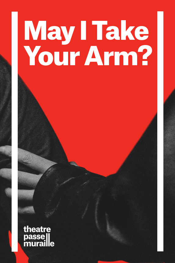 """Poster of May I Take Your Arm has a bright red background with a greyscale image of a hand holding an arm. The poster is lined with two white vertical lines, and """"May I Take Your Arm"""" written in the centre of it."""