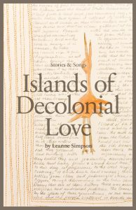 Island of Decolonial Love cover has an illustrated orange bird against a picture of a handwritten letter