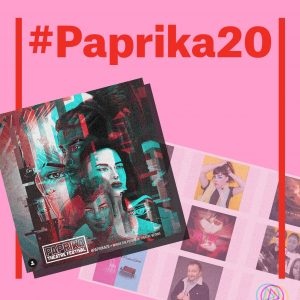 The Paprika festival poster, which is drawn in a cyber graphic art, against a faint screenshot of the Paprika Festival website is collaged against a pink background. It has large text #Paprika20 on top.