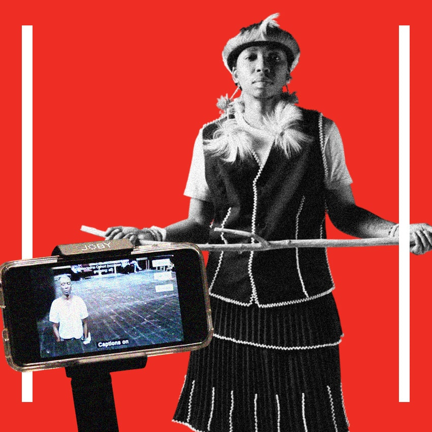 Collage graphic of Samson Bonkeabantu Brown standing behind a smartphone showing Courage on standby. The graphic is red and has white lines lining each side.
