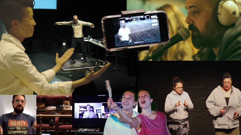 Collage of various moments from accessibility labs. There are some headphones, smartphones and technology as well as people communicating in sign language, and speaking to one another