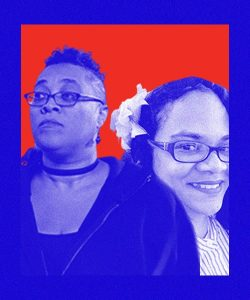 Donna Michelle and Tamyka are Black women with glasses. DonnaMichelle has short hair that has been gelled up and wearing a chocker with a dark hoodie. Tamyka is wearing a bright shirt and has a flower ornament on her hair.