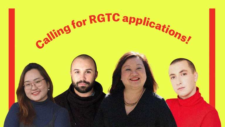 Bright neon yellow graphic with text that reads calling for RGTC applications! From left to right are Emily, who is a Korean woman with glasses and long hair, Indrit who is an Albanian man with shaved head and short beard wearing a black hoodie. Marjorie who is an East Asian woman with shoulder length hair, and Merlin who has a fair complexion and soft features with a shaved head, wearing a bright red sweater that covers her neck.
