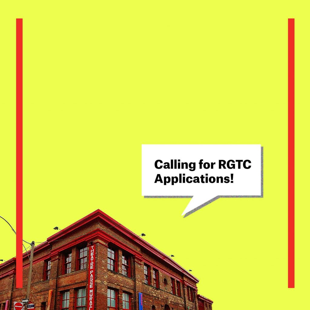 """yellow graphic with TPM building that has speech bubbles writing """"calling for RGTC applications"""""""